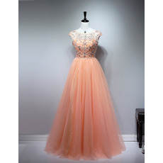 Custom Classic Ball Gown Floor Length Tulle Beaded Bodice Prom Evening Dress
