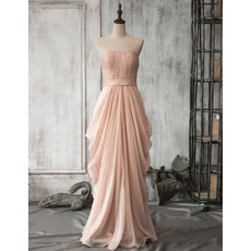 Custom Designer Strapless Floor Length Chiffon Pick-Up Skirt Formal Evening Dress