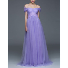 Classy Empire Waist Off-the-shoulder Cap Sleeves Long Chiffon Evening Dress