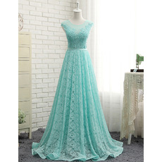 Beautiful A-Line Sweep Train Long Lace Formal Prom Evening Dress for Women