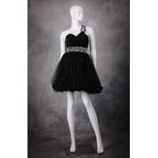 Girls Cute A-Line One Shoulder Short Organza Black Homecoming Dress