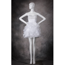 Classic Pretty Sweetheart Short Ruffle Skirt White Homecoming Dress