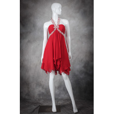 Junior Empire Waist Halter Sleeveless Short Red Chiffon Homecoming Dress