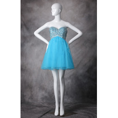 Girls Junior A-Line Sweetheart Mini/ Short Organza Homecoming Dress