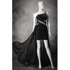 Hipster One Shoulder High-Low Asymmetric Chiffon Black Homecoming Dress
