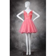 Cheap Pretty A-Line V-Neck Short/ Mini Taffeta Organza Homecoming Dress
