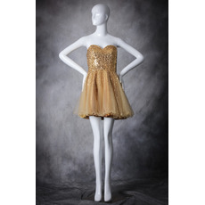 Pretty Classic A-Line Sweetheart Short Organza Sequin Homecoming Dress