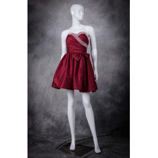 Sexy A-Line Sweetheart Sleeveless Short Taffeta Homecoming Dress