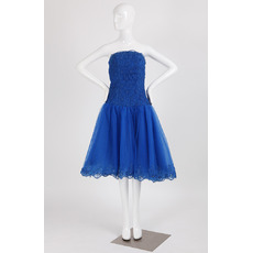 Custom classic Strapless Sleeveless Knee Length Blue Homecoming Dress