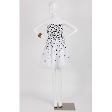 Inexpensive A-Line Strapless Short Organza Dot Homecoming Dress
