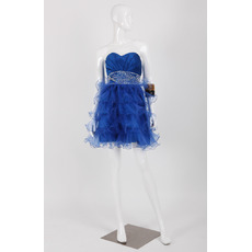Girls Classy Custom Sweetheart Short Satin Organza Homecoming Dress