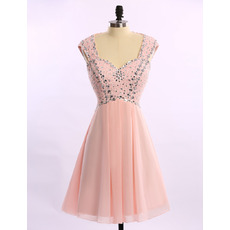 Girls Pretty Sleeveless Short Chiffon Rhinestone Homecoming Dress