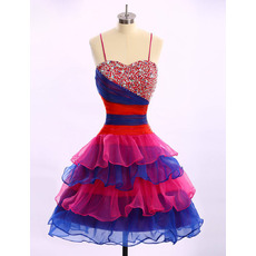 Girls Cute Ball Gown Spaghetti Straps Knee Length Colorful Homecoming Dress