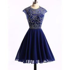 Cheap A-Line Knee Length Chiffon Rhinestone Homecoming Dress