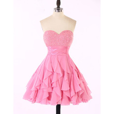 Affordable Classy Sweetheart Chiffon Ruffled Skirt Beaded Homecoming Dress