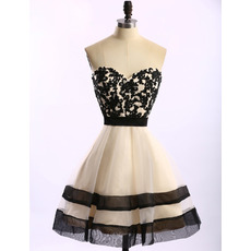 Girls Pretty Sweetheart Knee Length Organza Applique Homecoming Dress