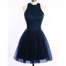 Girls Junior Sleeveless Short Satin Tulle Beading Homecoming Dress