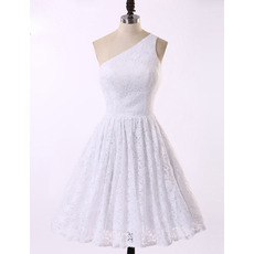 Inexpensive Simple A-Line One Shoulder Knee Length White Lace Homecoming Dress