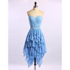 Girls Pretty Sweetheart High-Low Chiffon Beading Ruffle Homecoming Dress
