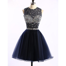 Custom Classic Ball Gown Sleeveless Short Satin Rhinestone Homecoming Dress
