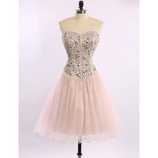 Affordable Cute Sheath Sweetheart Short Rhinestone Homecoming Dress