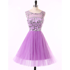 Pretty A-Line Sleeveless Short Tulle Rhinestone Homecoming Dress
