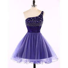 Custom Designer A-Line One Shoulder Short Tulle Homecoming Dress