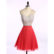Discount One Shoulder Short Chiffon Rhinestone Homecoming Dress