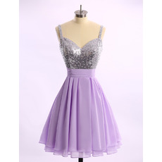 Sexy A-Line Sweetheart Short Chiffon Homecoming Dress with Straps