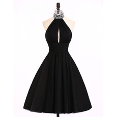 Modern Sexy A-Line Halter Knee Length Satin Black Homecoming Dress
