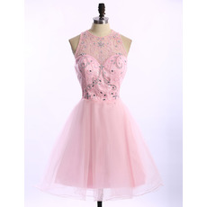 Designer Pretty A-Line Sleeveless Short Organza Junior Homecoming Dress
