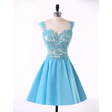 Affordable Pretty A-Line Sweetheart Short Satin Applique Homecoming Dress