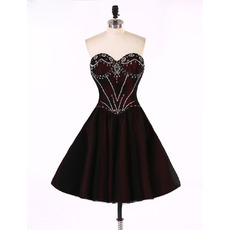 Classic A-Line Sweetheart Short Taffeta Rhinestone Little Homecoming Dress