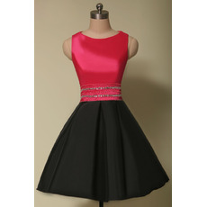 Affordable A-Line Sleeveless Short Satin Red & Black Homecoming Dress