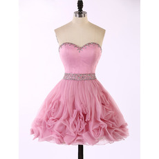 Pretty A-Line Sweetheart Short Organza Ruffle Skirt Homecoming Dress