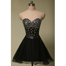 Junior A-Line Sweetheart Short Black Rhinestone Homecoming Dress