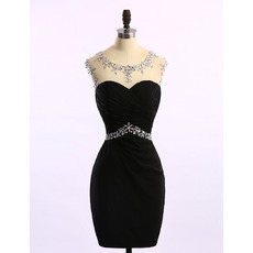 Sexy Tight Sheath Sleeveless Short Satin Black Rhinestone Homecoming Dress