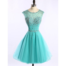 Affordable Classy A-Line Short Satin Organza Rhinestone Homecoming Dress