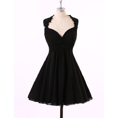 Sexy Nice A-Line Sweetheart Short Chiffon Black Backless Homecoming Dress