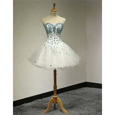 Junior Ball Gown Sweetheart Short Rhinestone Homecoming Dress