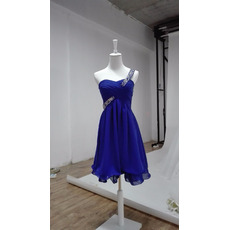 Best One Shoulder Knee Length Blue Chiffon Lace-Up Homecoming Dress