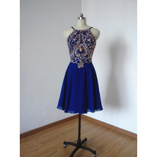 Custom classic Spaghetti Straps Short Chiffon Rhinestone Homecoming Dress