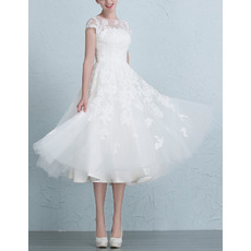 Affordable Charming A-Line Tea Length Organza Garden/ Outdoor Wedding Dress