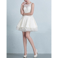 Casual Charming A-Line Sleeveless Short/ Mini Satin Tulle Wedding Dress