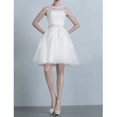 Classic Elegant A-Line Short/ Mini Organza Wedding Dress with Belts