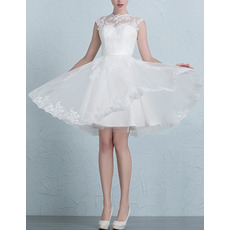 Custom Beautiful A-Line Mandarin Collar Short Organza Satin Wedding Dress