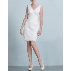 Discount Designer Column/ Sheath V-Neck Lace Short Petite Wedding Dress