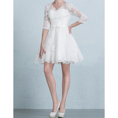 Fashionable Informal V-Neck Short/ Mini Wedding Dress with 3/4 Long Sleeves