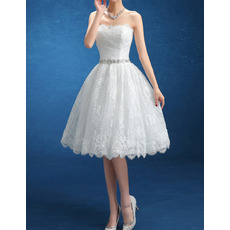 Custom Classic Ball Gown Strapless Knee Length Lace Short Wedding Dress