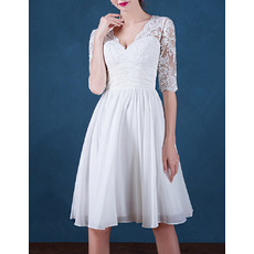 Women's Informal V-Neck Short Chiffon Wedding Dress with Half Sleeves